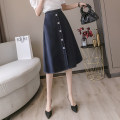 skirt Summer 2021 S,M,L,XL dark blue Mid length dress commute High waist A-line skirt Solid color Type A 18-24 years old AT 31% (inclusive) - 50% (inclusive) other other Button Korean version