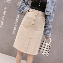 skirt Spring 2021 S,M,L,XL,2XL Apricot, pink, black Mid length dress commute High waist skirt Solid color Type A 18-24 years old XW 71% (inclusive) - 80% (inclusive) corduroy cotton Pocket, button Korean version