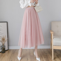 skirt Spring 2021 S,M,L,XL Mid length dress Sweet High waist A-line skirt Solid color Type A 18-24 years old AT 51% (inclusive) - 70% (inclusive) other other Mesh, stitching