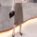 skirt Spring 2021 S,M,L,XL Black, brown Mid length dress commute High waist skirt Solid color Type A 18-24 years old LU 71% (inclusive) - 80% (inclusive) other zipper Korean version