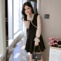 Dress Spring 2021 black S,M,L,XL,2XL,3XL Mid length dress singleton  Long sleeves commute V-neck High waist Solid color zipper A-line skirt bishop sleeve Others 18-24 years old Type A Korean version Bows, beads AT7 51% (inclusive) - 70% (inclusive)