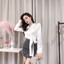 Dress Spring 2021 White single top, black single top, Sequin arm skirt S,M,L,XL Short skirt Two piece set Long sleeves commute V-neck High waist Solid color Socket One pace skirt routine Others 18-24 years old T-type Other / other Ol style Bows, sequins, zippers #796 71% (inclusive) - 80% (inclusive)