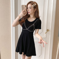 Dress Summer 2021 Purple, black, pink S,M,L,XL,2XL Short skirt singleton  Short sleeve commute Crew neck High waist other Socket A-line skirt routine Others 18-24 years old Type A Korean version XW 71% (inclusive) - 80% (inclusive) knitting
