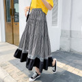 skirt Summer 2021 Average size Picture color Mid length dress commute High waist A-line skirt lattice Type A 18-24 years old XW 71% (inclusive) - 80% (inclusive) Chiffon polyester fiber Splicing Korean version