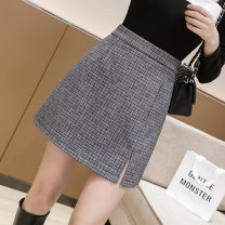 skirt Spring 2021 S,M,L,XL Black, apricot Short skirt commute High waist A-line skirt lattice Type A 18-24 years old jr 71% (inclusive) - 80% (inclusive) Wool polyester fiber zipper Korean version
