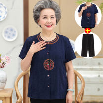 Middle aged and old women's wear Summer 2020 L XL 2XL 3XL 4XL ethnic style suit Self cultivation Two piece set other Over 60 years old T2015 Babolds polyester Polyester 100% 96% and above Pure e-commerce (online only)