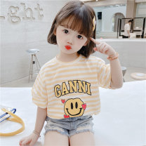T-shirt Other / other 80cm,90cm,100cm,110cm,120cm,130cm female summer Short sleeve Crew neck Korean version There are models in the real shooting nothing cotton stripe Cotton 90% polyester 10% Class A Sweat absorption Chinese Mainland Zhejiang Province Huzhou City