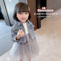 suit Other / other Denim jacket + dress The recommended height is about 80cm for Size 90, 90cm for size 100, 100cm for Size 110, 110cm for Size 120 and 120cm for Size 130 female spring and autumn Korean version Long sleeve + skirt 2 pieces routine There are models in the real shooting Single breasted