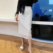 skirt Summer 2020 S M L XL white Middle-skirt commute Natural waist skirt Solid color Type A 25-29 years old More than 95% Lace Jue Qiu other Lace Korean version Other 100% Exclusive payment of tmall