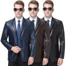leather clothing Oana  Youth fashion have more cash than can be accounted for Imitation leather clothes tailored collar Single breasted go to work middle age Multiple pockets