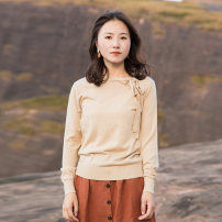 Wool knitwear Autumn of 2019 S,M,L Deep apricot Long sleeves singleton  Socket acrylic fibres 51% (inclusive) - 70% (inclusive) Regular routine commute easy other routine Solid color Socket literature Suo family
