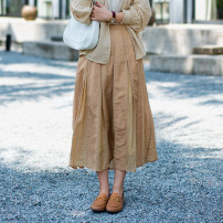 skirt Summer 2021 S,M,L Light Camel Mid length dress commute Natural waist A-line skirt Solid color Type A 31% (inclusive) - 50% (inclusive) other Suo family hemp literature