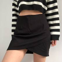 skirt Autumn 2020 S,M,L black Short skirt commute High waist A-line skirt Solid color Type A 25-29 years old 71% (inclusive) - 80% (inclusive) Wool cotton zipper