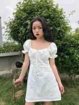 Dress Winter of 2018 white S,M,L 71% (inclusive) - 80% (inclusive) cotton