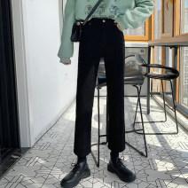 Women's large Autumn 2020 black M [recommended 95-105 kg], l [recommended 105-120 kg], XL [recommended 120-135 kg], 2XL [recommended 135-150 kg], 3XL [recommended 150-165 kg], 4XL [recommended 165-180 kg], 5XL [recommended 180-200 kg] Jeans singleton  commute Straight cylinder moderate Korean version