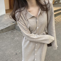 Dress Autumn 2020 Black oat new raspberry Powder Cream Beige S M L XL longuette singleton  Long sleeves commute Polo collar High waist Solid color Single breasted other routine Others 18-24 years old Type H Qiaonifen Korean version Button 0672Q 51% (inclusive) - 70% (inclusive) knitting