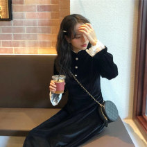 Dress Winter of 2019 black S M L XL Mid length dress singleton  Long sleeves commute Crew neck High waist Solid color Three buttons A-line skirt routine Others 25-29 years old Type A Qiaonifen Retro Splicing More than 95% polyester fiber Polyester 100% Pure e-commerce (online only)