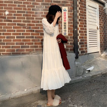 Dress Autumn of 2019 white S M L XL longuette singleton  Long sleeves commute Crew neck High waist Solid color Socket A-line skirt routine Others 18-24 years old Qiaonifen Korean version fold More than 95% Chiffon polyester fiber Polyester 100% Pure e-commerce (online only)