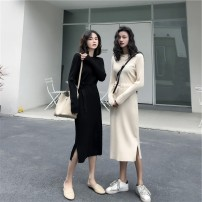 Dress Autumn 2020 Black apricot S M L Mid length dress singleton  Long sleeves commute Crew neck High waist Solid color Socket A-line skirt routine Others 18-24 years old Type A Qiaonifen Korean version 4301# 51% (inclusive) - 70% (inclusive) knitting polyester fiber Polyester 60% other 40%