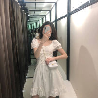 Dress Summer 2021 white S M L XL Mid length dress singleton  Short sleeve commute Crew neck High waist other Socket A-line skirt routine Others 18-24 years old Type A Qiaonifen Korean version 51% (inclusive) - 70% (inclusive) polyester fiber Polyester 60% other 40% Pure e-commerce (online only)