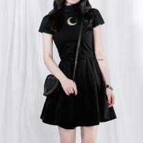 Dress Summer of 2019 black S,M,L Middle-skirt singleton  Short sleeve street stand collar middle-waisted Solid color zipper Pleated skirt other Others 18-24 years old Type X Hollow out, gauze 81% (inclusive) - 90% (inclusive) brocade cotton Punk