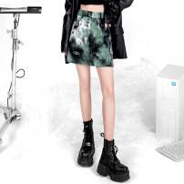skirt Autumn 2020 S,M,L green Short skirt Versatile High waist A-line skirt Decor 31% (inclusive) - 50% (inclusive) brocade polyester fiber 201g / m ^ 2 (including) - 250G / m ^ 2 (including)