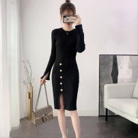Dress Spring 2021 Black, apricot Average size Mid length dress singleton  Long sleeves commute Crew neck Elastic waist Solid color Socket One pace skirt other 25-29 years old Type X Korean version Button 81% (inclusive) - 90% (inclusive) knitting cotton
