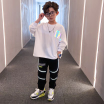 suit Prince McGrady White black 110cm 120cm 130cm 140cm 150cm 160cm 170cm male spring and autumn leisure time Long sleeve + pants 2 pieces routine There are models in the real shooting Socket nothing Solid color cotton children Expression of love TZ20555 Class B Cotton 85% polyester 15% Spring 2021