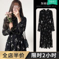 Women's large Autumn 2020 Dress singleton  Sweet easy thick Socket Long sleeves Broken flowers V-neck Medium length Three dimensional cutting routine Gattibor / gadipol 18-24 years old Lace stitching longuette Polyester 100% Pure e-commerce (online only) Princess Dress bow solar system