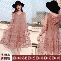 Dress Autumn 2020 Black quarter sleeves, pink quarter sleeves, Pink Medium sleeves, Black Medium sleeves S,M,L,XL,2XL,3XL Mid length dress singleton  Nine point sleeve commute Hood Loose waist Decor Socket A-line skirt routine Others 30-34 years old Type A Lace, embroidery, gauze, resin fixation, 3D