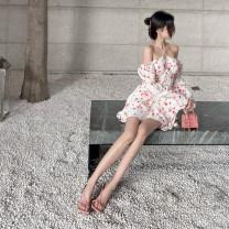 Dress Spring 2021 white S,M,L Short skirt singleton  Long sleeves commute High waist Decor Socket pagoda sleeve Hanging neck style 18-24 years old Type A Korean version printing QA7211 31% (inclusive) - 50% (inclusive) polyester fiber