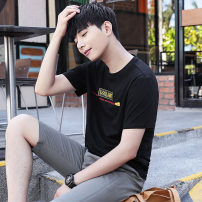 T-shirt Youth fashion 81t258 black routine M L XL Henderwey Short sleeve Crew neck standard daily summer HDWT81T258 Cotton 95% polyurethane elastic fiber (spandex) 5% youth routine tide Summer of 2019 No iron treatment Fashion brand Pure e-commerce (online only)
