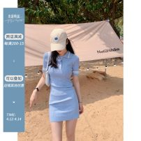 Dress Spring 2021 Black, light blue Average size Mid length dress singleton  Short sleeve commute Polo collar High waist Solid color Socket other other Others Type A Yang paopaopao Korean version Button Black and blue half sleeve knitted skirt More than 95% knitting acrylic fibres