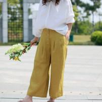 Casual pants Black, yellow S,M,L Spring of 2019 Ninth pants Straight pants Natural waist original routine 96% and above hemp hemp