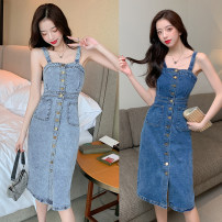 Dress Summer 2021 Light blue, dark blue M,L,XL,2XL Mid length dress singleton  Sleeveless commute One word collar High waist Solid color Single breasted One pace skirt routine camisole Type H Retro Button, button