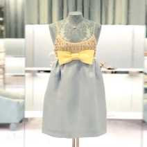 Dress Spring 2021 Light blue [delivery around January 10] S,M,L Short skirt singleton  Sleeveless Sweet Crew neck High waist Solid color Socket A-line skirt routine 18-24 years old Type A Splicing Chiffon nylon
