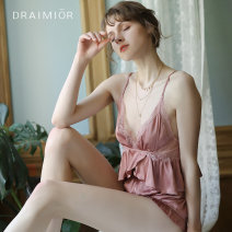 Nightdress I have long admired Yadai Pink drawstring nightdress + shorts S M L sexy pajamas Short skirt summer Solid color youth Polyester (polyester) Lotus leaf edge More than 95% DR0017-F 200g and below Summer of 2019 Polyester 96.3% polyurethane elastic fiber (spandex) 3.7%