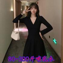 Nursing clothes Black Non lactation, black lactation M,L,XL,2XL,3XL,4XL Big Mommy Socket autumn Long sleeves Medium length Korean version Dress Side opening polyester Spot 899#