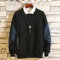 Sweater Youth fashion Gulin maple Black, light grey 2XL (bust 122), 3XL (bust 130), 4XL (bust 136), 5XL (bust 140), 6xl (bust 146), 7XL (bust 150), 8xl (bust 155), 9xl (bust 160) Solid color Socket routine Crew neck autumn easy leisure time Large size Chinese style routine Terry cloth cotton