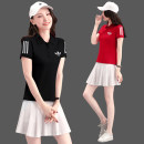 Golf clothing tower soaring like a mountain peak female Red dress white dress black dress white dress red dress black dress pink dress black dress white dress pink dress white dress white dress white dress black dress Lapel cotton Short sleeve Pattern light plate Field training clothes suit