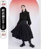 skirt Autumn 2020 XS,S,M,L black Mid length dress High waist Irregular Type A luluswings