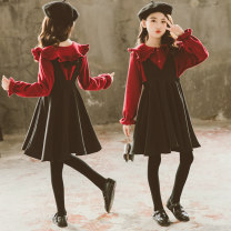 suit Other / other Spring red top + suspender trouser skirt, winter red plush Top + suspender trouser skirt female spring Long sleeve + skirt 2 pieces There are models in the real shooting Solid color other Expression of love Class B