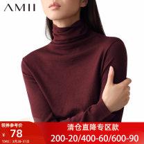 sweater Autumn 2020 Long sleeves singleton  Regular acrylic fibres 51% (inclusive) - 70% (inclusive) High collar Regular commute routine Solid color Straight cylinder Regular wool Amii Polyacrylonitrile fiber (acrylic fiber) 50.6% polyamide fiber (nylon fiber) 27.8% wool 21.6%