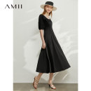Dress Summer 2020 Black description 170/92A/XL 165/88A/L 155/80A/S . 160/84A/M Mid length dress singleton  Short sleeve commute V-neck middle-waisted Solid color Socket A-line skirt routine Others 25-29 years old Type A Amii Simplicity QZ2-1208TM0028 More than 95% other other Other 100%