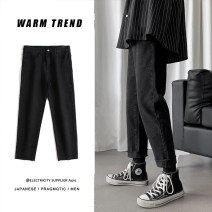 Jeans Youth fashion Others S,M,L,XL,2XL Black, blue routine No bullet trousers Other leisure autumn teenagers Medium low back Loose straight tube like a breath of fresh air 2019 Little straight foot