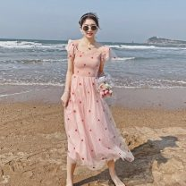 Dress Summer 2021 Pink S,M,L,XL longuette singleton  Short sleeve commute square neck High waist Decor zipper A-line skirt Lotus leaf sleeve Type A Sandro asw lady Mesh, zipper, printing, resin fixation 91% (inclusive) - 95% (inclusive)
