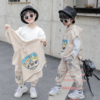 suit Goo Goo Marie Beige [wsnct3057 letter three piece set] Khaki [wsnct3057 letter three piece set] 110cm 120cm 130cm 140cm 150cm 160cm male spring and autumn Korean version Long sleeve + pants 3 pieces Thin money There are models in the real shooting Socket No detachable cap Cartoon animation
