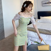 Dress Summer 2021 Pink grid, yellow grid S,M,L,XL Short skirt singleton  Short sleeve commute One word collar High waist lattice Socket Pencil skirt routine Others T-type Retro Splicing