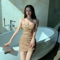 Dress Spring 2021 Silver, gold S,M,L,XL Short skirt singleton  Sleeveless commute V-neck High waist Solid color Socket One pace skirt routine camisole 18-24 years old Type A backless