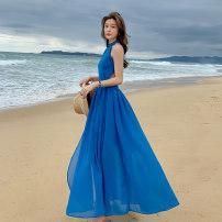Dress Summer 2020 blue S,M,L,XL longuette singleton  Sweet Crew neck High waist Solid color Socket Irregular skirt Hanging neck style backless 81% (inclusive) - 90% (inclusive) Bohemia